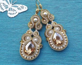 Cream & Gold soutache  earrings