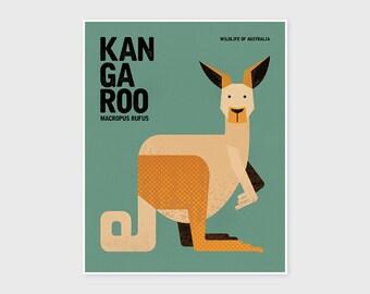 KANGAROO, Animal Nursery Wall Art, Wildlife of Australia, Nursery Print, Rustic Retro, Vintage Poster, Wall Art Print