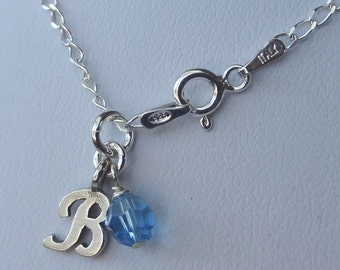Monogram Sterling Silver Baby Children Initial Pendant Necklace, Custom Necklace, Birthstone Necklace, Flower Girl  Initial Necklace
