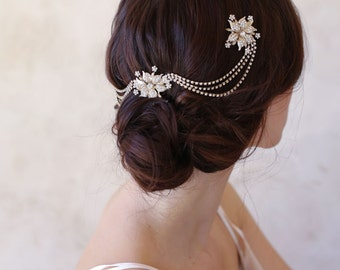 Rhinestone bridal headpiece, chain, floral - Triple flower and swag headpiece - Style 514 - Ready to Ship