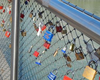 Hearts Locked As One Padlocks, Engraved Fence Digital Photo