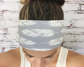 Feathers - Silver Gray - Eco Friendly Yoga Headband