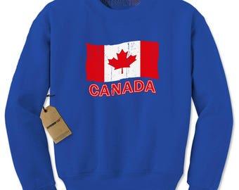 Vintage Canada Flag Adult Crewneck Sweatshirt