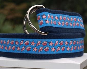 Shell Belt / Starfish Belt / Belt for  YOUNGER BOYS / Summer Belt / Wedding Belt / Light Blue Belt / Preppy / Boys Pant Sizes 2T/3T - 16/18
