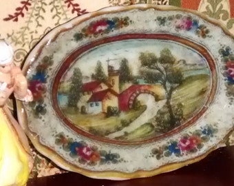 Dolls House miniature Antique Country View  oval tray dish