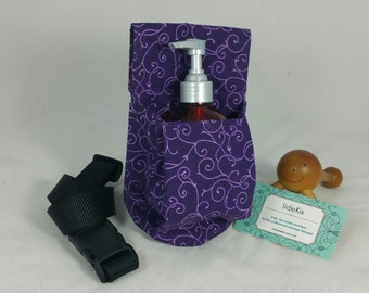 Massage Therapy 8oz lotion or cream jar hip holster, purple scroll, black belt