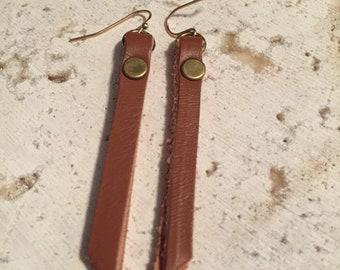 Brown Leather Strip Earrings