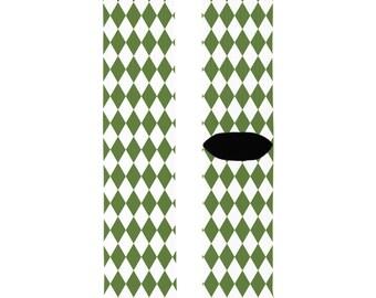 Harlequin Print Men's Socks, Green and White / Unique Socks for Men