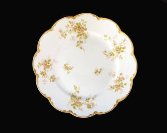 Antique (1894 - 1931) Haviland Limoges China Plate with Pink Roses, Vintage from France