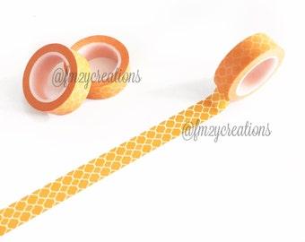 WASHI TAPE | Yellow Orange Quatrefoil Washi Tape | Masking Tape | Scrapbooking | Journaling | Japanese tape | Planner tape Planner Stickers