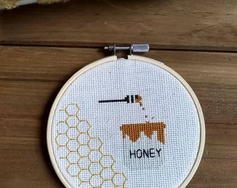Honey Pot with dipper Finished cross stitch