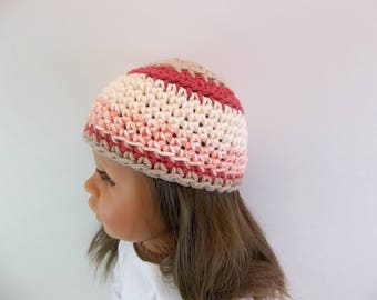 18 inch Doll  Crochet Hat  Brick Red Tan Natural Variegated Yarn Accessories Toys
