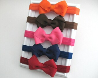 Baby Headband Set ~ Set of Baby Bow Headbands ~ Newborn Headbands ~ Thanksgiving Bows ~ New Baby Gift