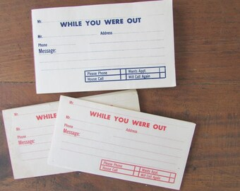 While YOu Were Out Vintage Notepad Memo Office Supply Scrapbook Junk Journal Collage Supply