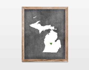Michigan Chalkboard State Map 8x10 Art Print. Personalized Chalkboard Home Art Print. Michigan Map Gift. Graduation Map Gift. College Map.