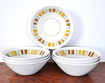 Vintage Mikasa Cera Stone Catalina Berry Bowls, Dessert Bowls, MCM Mid Century Modern Abstract Pattern, Yellow and Brown
