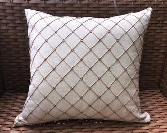 Cream Beige Coastal Nautical Inspired Rectangular Pillow