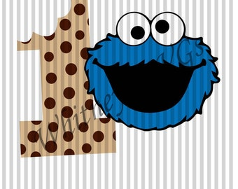 Cookie Monster 1st Birthday SVG DXF Cutting File