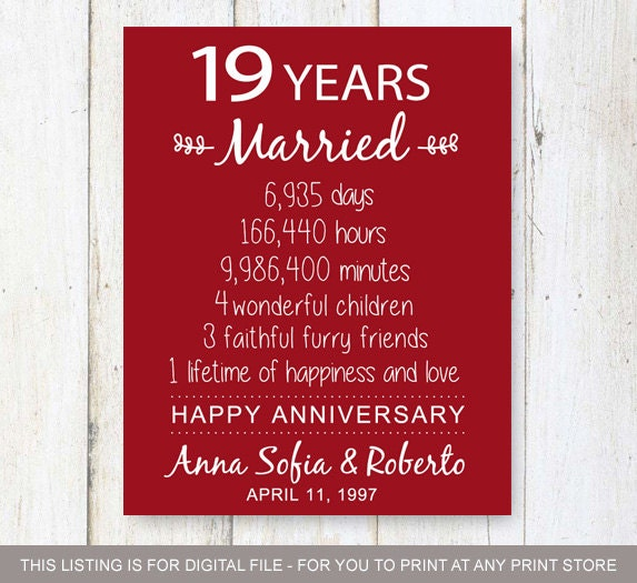 Gifts For 19th Wedding Anniversary: 19th Anniversary Gift 19 Years Of Mariage Wedding
