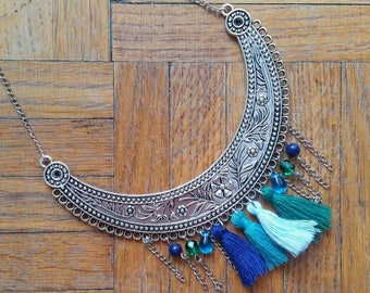Ethnic blue and green necklace
