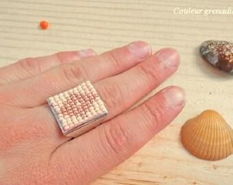 Ring woven with seed beads miyuki, birthday gift idea