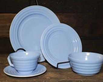 Hazel Atlas Moderntone Platonite Pastel Blue Dinnerware Setting ~ 5 Pieces & Vintage Dinnerware Sets   Etsy