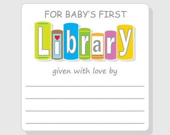 Baby Shower Bookplate Label Stickers Personalized Baby's First Library - gender neutral boy girl Library Books Square message - 2.5 - 3 inch
