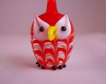 Red Lampwork Glass Owl Pendant