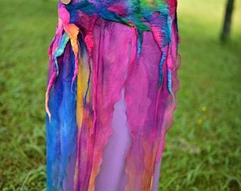Nuno Felted Belt-Rainbow Belt-Silk Belt-Rainbow Felt Costume-Rainbow Fairy Belt-Fairy Costume-Rainbow Costume-Woodland Costume OOAK