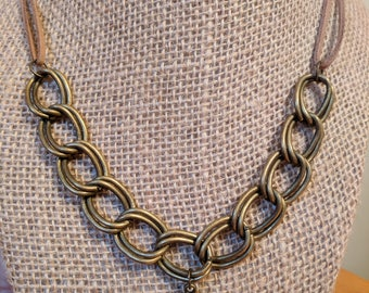 Large Bronze Chain Necklace with Bullet and Tangerine Swarovski Crystal