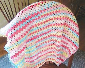 Baby Afghan, Car Seat Blanket, Multi colored Crochet Baby Blanket, Lapghan, Baby room, home Decor