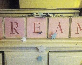 Wooden blocks spell dream nursery decor children's room
