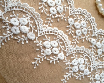 White Embroidered Tulle Lace Trim for Bridal Accessories Altered Couture and Costume Design