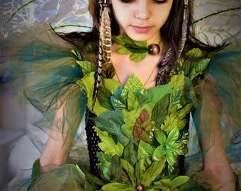 Woodland fairy dress, green goddess of forest costume,Green foliage leaf fairy costume, fairy birthday dress, fairy festival costume