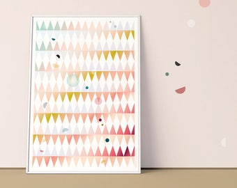 Print / Poster DOTS & TRIANGLES graphic - abstract Scandinavian pattern - A3 size - pink