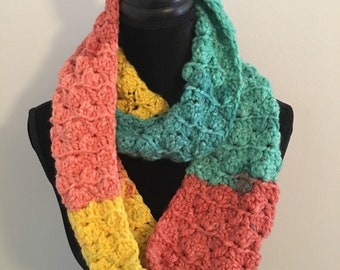 Mixed yellow, green, and tangerine double wrap infinity scarf.