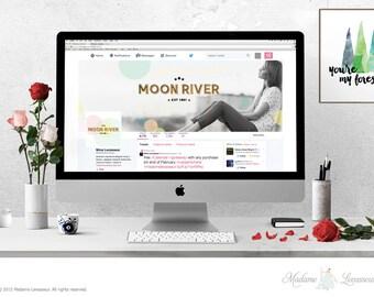 Wordpress blog header design Facebook cover Twitter Cover Design Branding Website Header premade logo design branding mockup scene header