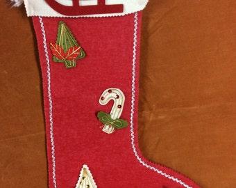 Vintage felt applique Christmas stocking