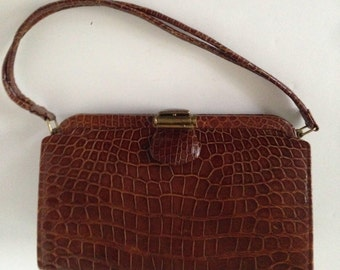 Vintage Leather Alligator Handbag