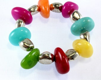 Multicolor Chunky Jade Stretch Bracelet
