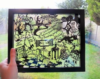 Alice in Wonderland Paper Cutting Collage