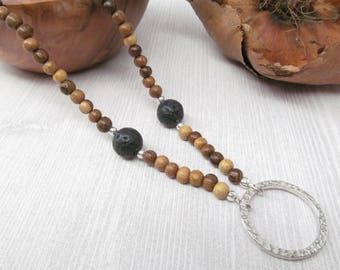 Wood Glasses Holder with Black Lava, ID Badge Holder Necklace, Wood Eyeglass Chain, Glasses Lanyard, Reading Glasses Chain for Men