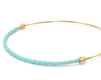 Beaded Bracelet // Turquoise Gold Bangle Bracelet // Eco-Friendly Jewelry // Friendship Bracelet // Guitar String Bracelet / Bridesmaid Gift