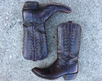 Vtg Dan Post Cowboy Boots - 8.5 D Mens - Dark Brown - Western Boots - Vintage Clothing - Vintage Boots -