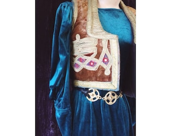 Vintage turquoise velvet maxi dress with detailed arm cuffs