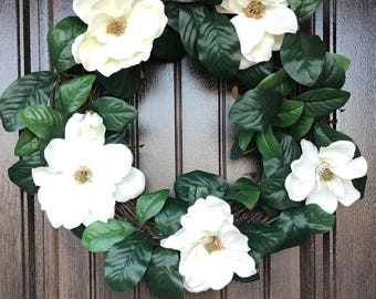 Magnolia Flowers Wreath Handmade