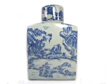 Vintage Blue and White Ginger Jar, Chinese Blue and White Jar, Chinoiserie Decor, Chinese Porcelain Jar, Square Ginger Jar, Wedding Gift