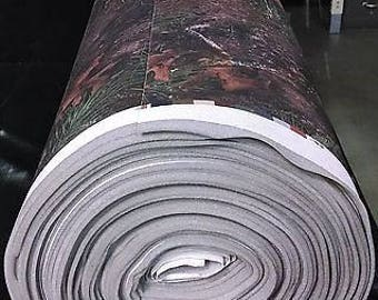 """Mixed Pine True Timber Camouflage Auto Headliner Fabric 3/16"""" Foam Back By The Yard"""