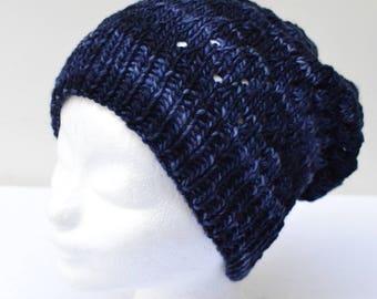 Handknitted merinowoolen baggy hat