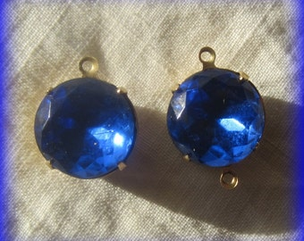 Sapphire, Blue, 20MM, 2 Ring, Round, Crystal, Multi Faceted, Rhinestone, Open Backed, Brass, 4 Prong, Setting, Connector,